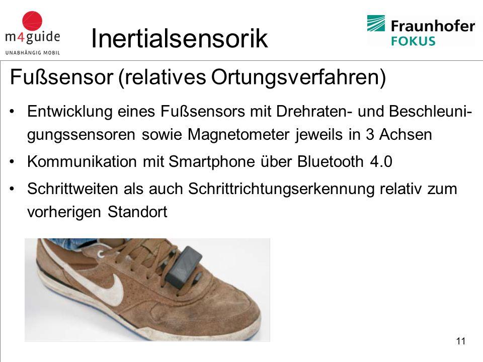 heureka Consult Fußsensor (relatives Ortungsverfahren) Entwicklung eines Fußsensors mit Drehraten- und Beschleuni- gungssensoren sowie Magnetometer jeweils in 3 Achsen Kommunikation mit Smartphone über Bluetooth 4.0 Schrittweiten als auch Schrittrichtungserkennung relativ zum vorherigen Standort 11 Inertialsensorik