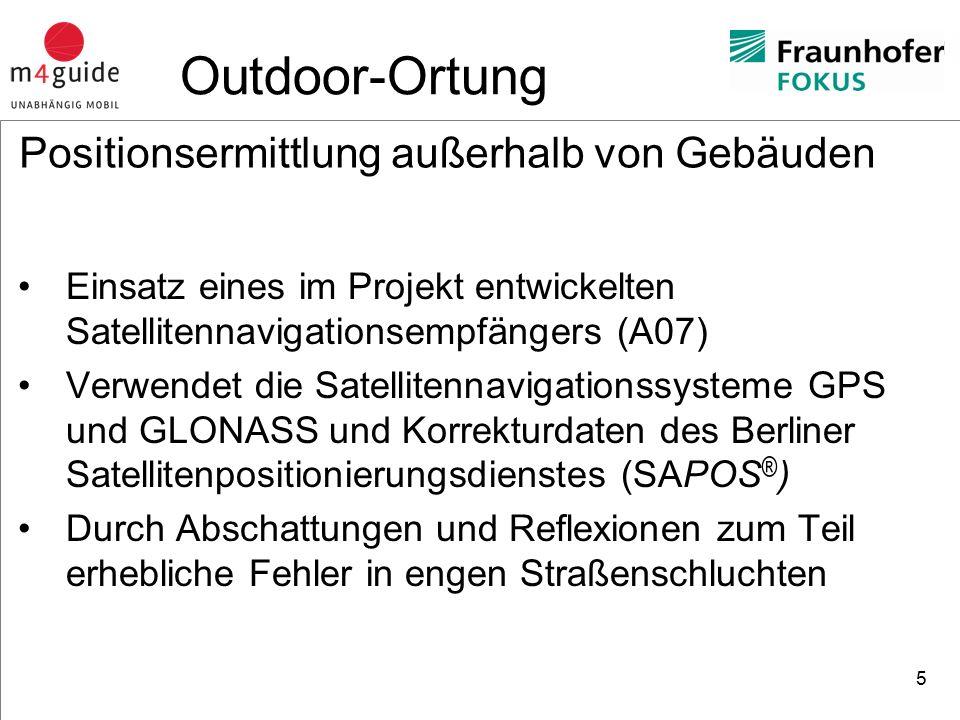 heureka Consult Test der Satellitennavigation (Gendarmenmarkt) 6 Outdoor-Ortung A07 Empfänger – Grüne Linie Gelaufener Weg – Gelbe Linie