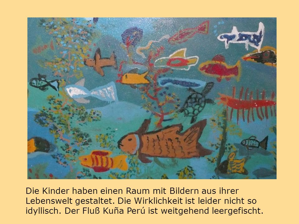 Die Kinder haben einen Raum mit Bildern aus ihrer Lebenswelt gestaltet.