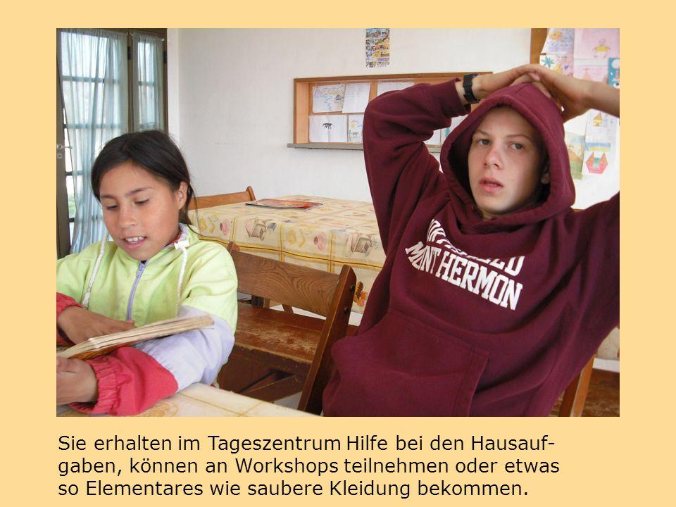 Sie erhalten im Tageszentrum Hilfe bei den Hausauf- gaben, können an Workshops teilnehmen oder etwas so Elementares wie saubere Kleidung bekommen.