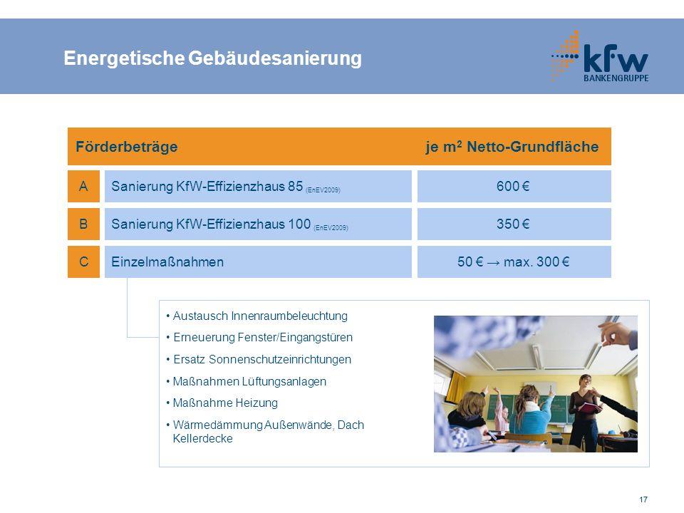 17 Förderbeträge je m 2 Netto-Grundfläche A B C Sanierung KfW-Effizienzhaus 85 (EnEV2009) Sanierung KfW-Effizienzhaus 100 (EnEV2009) Einzelmaßnahmen 6