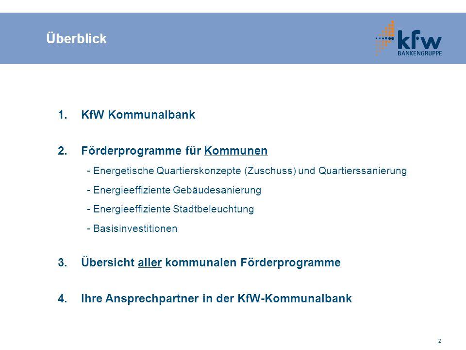 2 Überblick 1.KfW Kommunalbank 2.Förderprogramme für Kommunen - Energetische Quartierskonzepte (Zuschuss) und Quartierssanierung - Energieeffiziente G