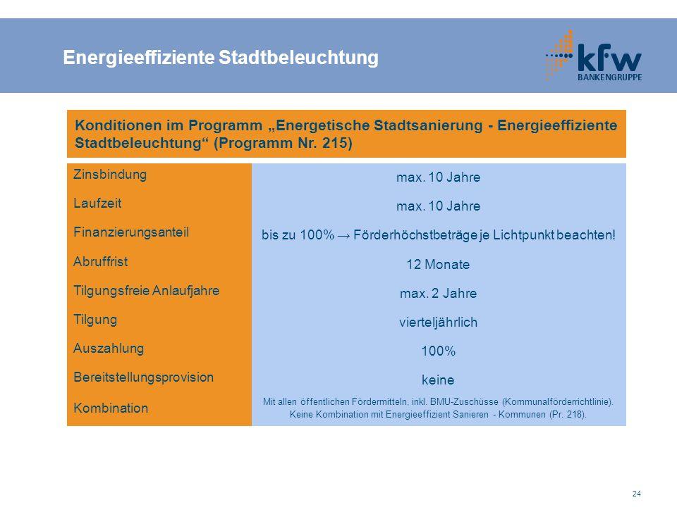 """24 Konditionen im Programm """"Energetische Stadtsanierung - Energieeffiziente Stadtbeleuchtung (Programm Nr."""