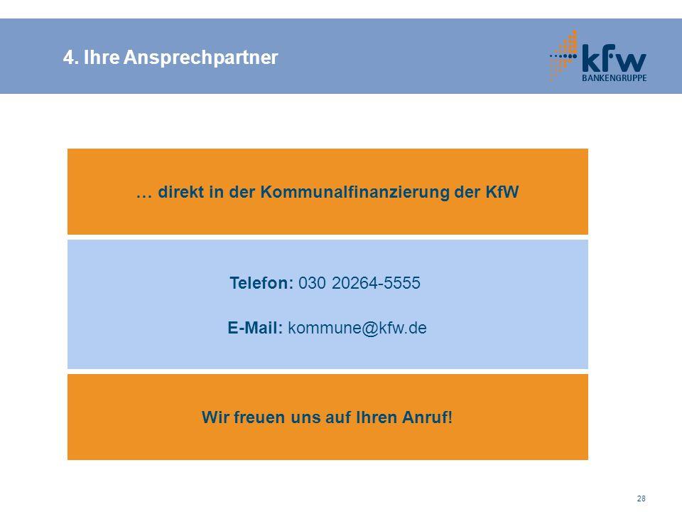 28 4. Ihre Ansprechpartner … direkt in der Kommunalfinanzierung der KfW Telefon: 030 20264-5555 E-Mail: kommune@kfw.de Wir freuen uns auf Ihren Anruf!