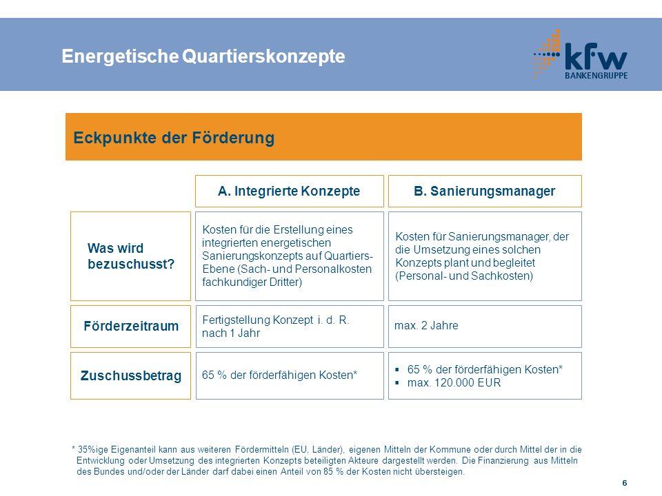 17 Förderbeträge je m 2 Netto-Grundfläche A B C Sanierung KfW-Effizienzhaus 85 (EnEV2009) Sanierung KfW-Effizienzhaus 100 (EnEV2009) Einzelmaßnahmen 600 € 350 € 50 € → max.