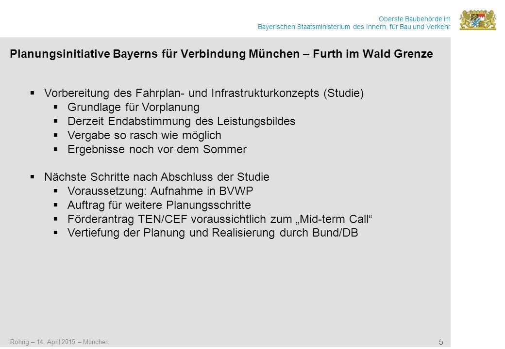 Oberste Baubehörde im Bayerischen Staatsministerium des Innern, für Bau und Verkehr Planungsinitiative Bayerns für Verbindung München – Furth im Wald Grenze Röhrig – 14.