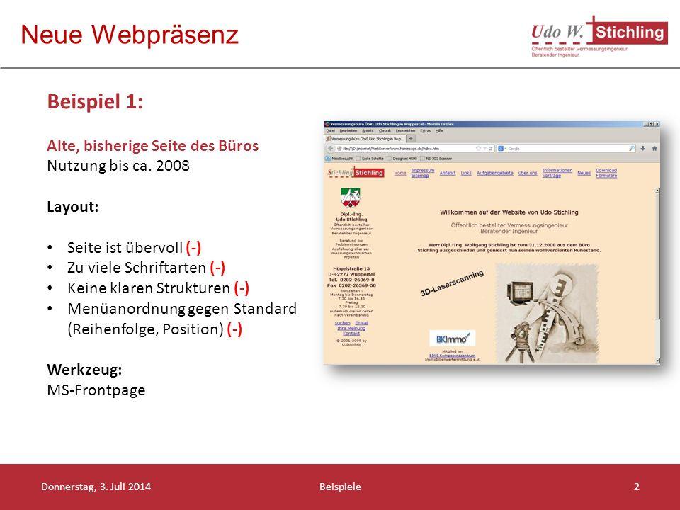Neue Webpräsenz Donnerstag, 3.