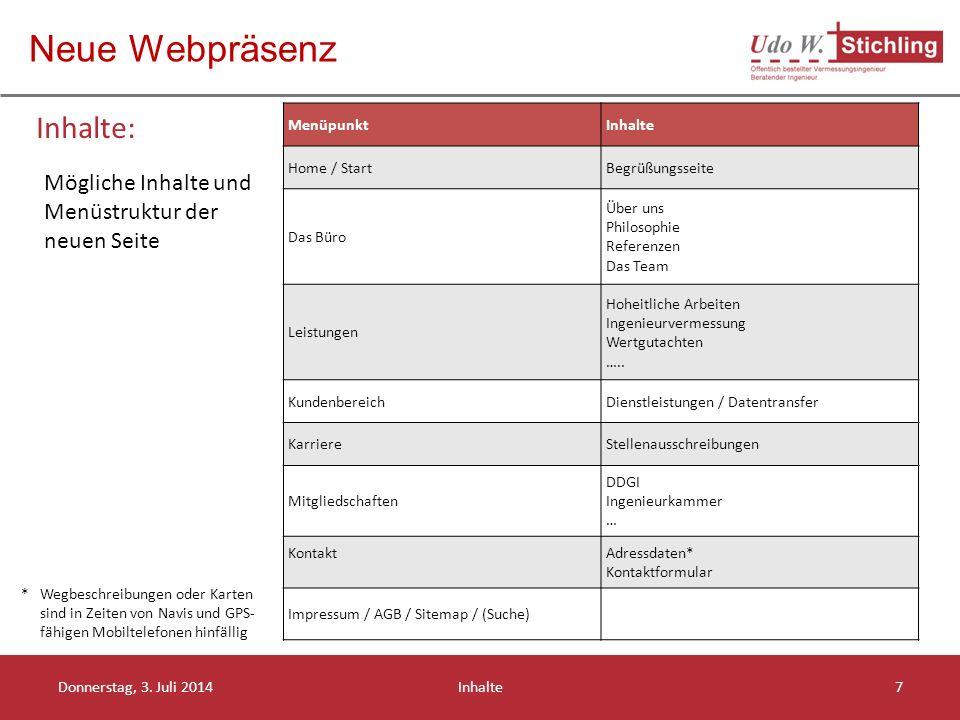 Neue Webpräsenz Inhalte: Donnerstag, 3.