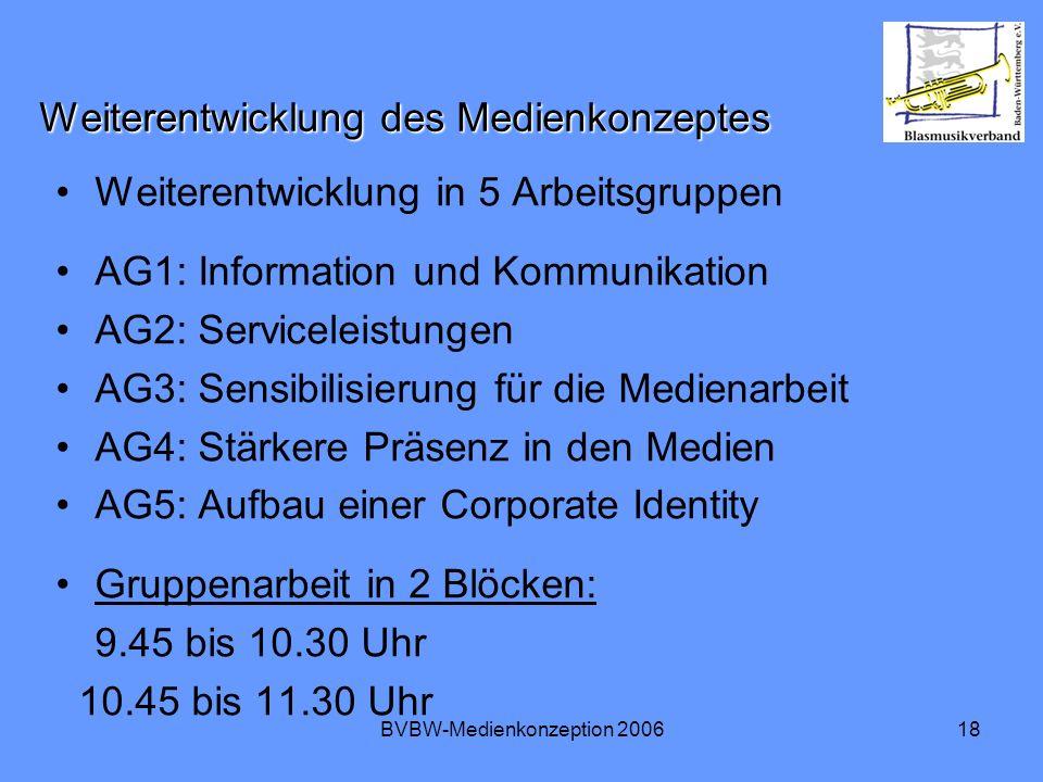 BVBW-Medienkonzeption 200618 Weiterentwicklung des Medienkonzeptes Weiterentwicklung in 5 Arbeitsgruppen AG1: Information und Kommunikation AG2: Servi