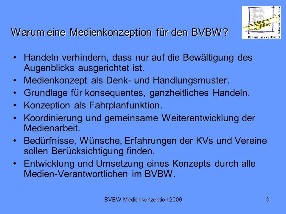 BVBW-Medienkonzeption 20063 Warum eine Medienkonzeption für den BVBW? Handeln verhindern, dass nur auf die Bewältigung des Augenblicks ausgerichtet is