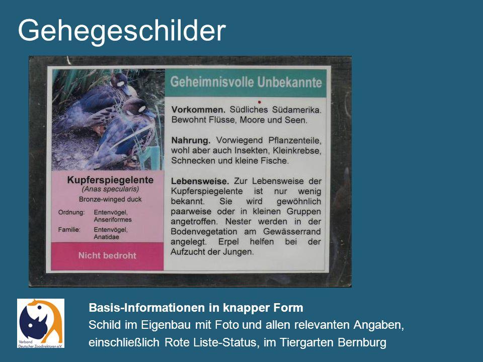 Gehegeschilder Basis-Informationen in knapper Form Schild im Eigenbau mit Foto und allen relevanten Angaben, einschließlich Rote Liste-Status, im Tiergarten Bernburg