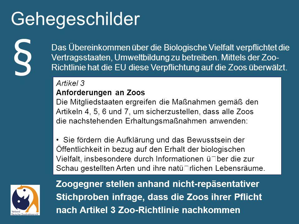 Gehegeschilder Zoogegner stellen anhand nicht-repäsentativer Stichproben infrage, dass die Zoos ihrer Pflicht nach Artikel 3 Zoo-Richtlinie nachkommen § Artikel 3 Anforderungen an Zoos Die Mitgliedstaaten ergreifen die Maßnahmen gemäß den Artikeln 4, 5, 6 und 7, um sicherzustellen, dass alle Zoos die nachstehenden Erhaltungsmaßnahmen anwenden: Sie fördern die Aufklärung und das Bewusstsein der Öffentlichkeit in bezug auf den Erhalt der biologischen Vielfalt, insbesondere durch Informationen über die zur Schau gestellten Arten und ihre natürlichen Lebensräume.