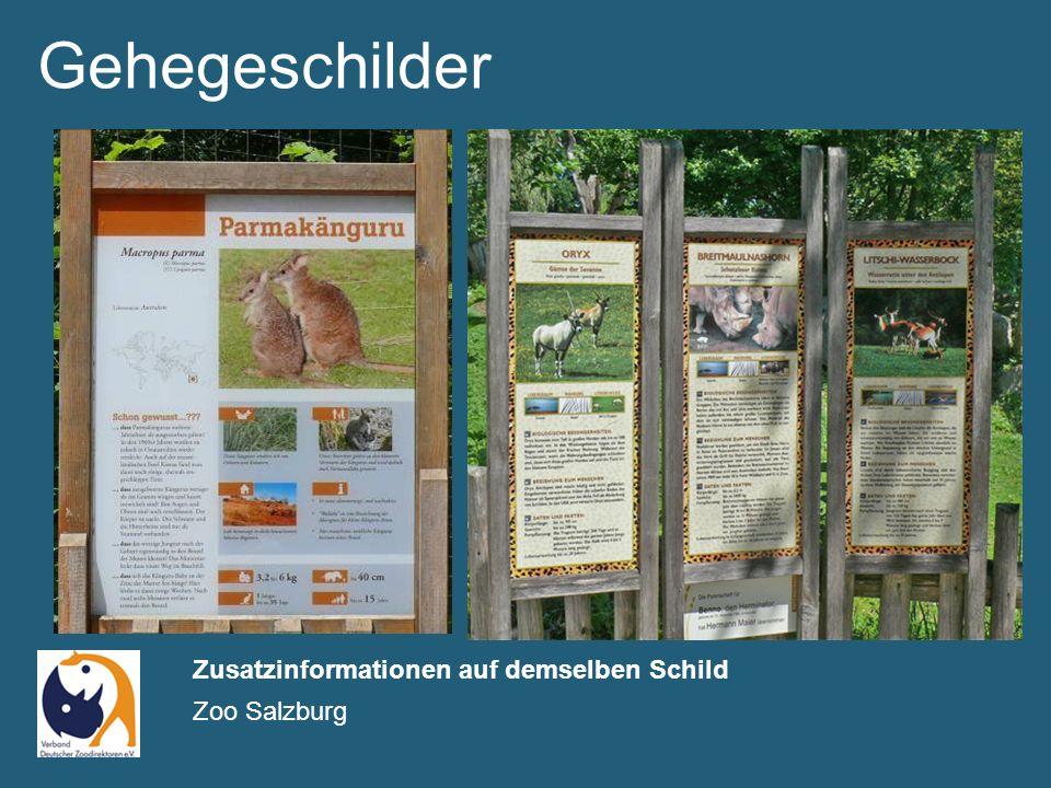 Gehegeschilder Zusatzinformationen auf demselben Schild Zoo Salzburg