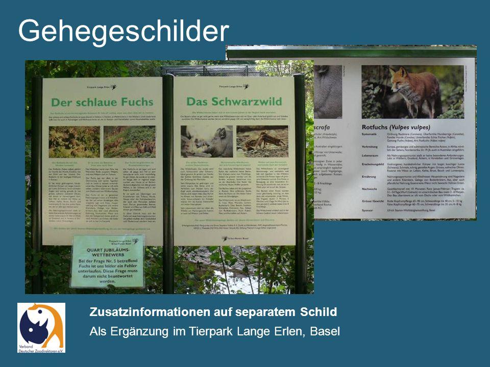 Gehegeschilder Zusatzinformationen auf separatem Schild Als Ergänzung im Tierpark Lange Erlen, Basel