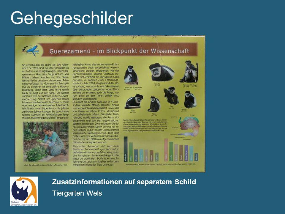 Gehegeschilder Zusatzinformationen auf separatem Schild Tiergarten Wels