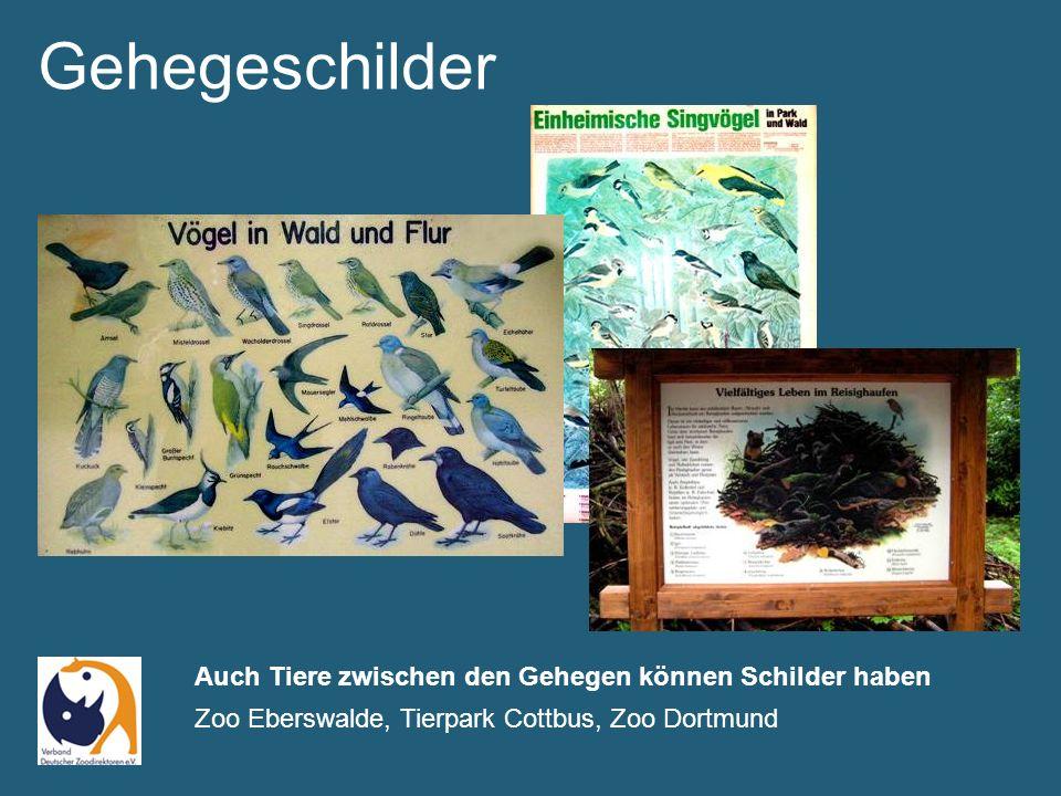 Gehegeschilder Auch Tiere zwischen den Gehegen können Schilder haben Zoo Eberswalde, Tierpark Cottbus, Zoo Dortmund