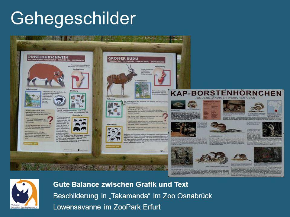 """Gehegeschilder Gute Balance zwischen Grafik und Text Beschilderung in """"Takamanda im Zoo Osnabrück Löwensavanne im ZooPark Erfurt"""