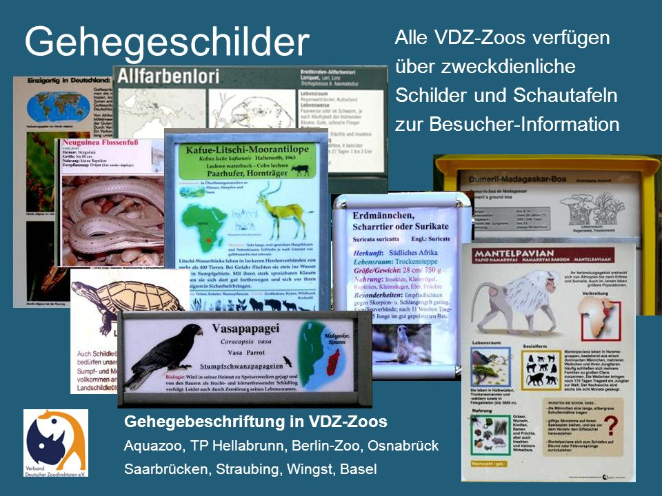 Gehegeschilder Namensschilder ab der Stange © TUKAN-Schilder im Wildpark Bad Orb und in Tonis Zoo, Rothenburg