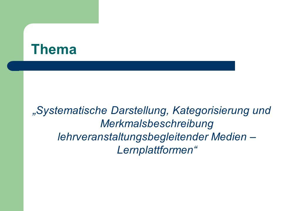 """Thema """"Systematische Darstellung, Kategorisierung und Merkmalsbeschreibung lehrveranstaltungsbegleitender Medien – Lernplattformen"""