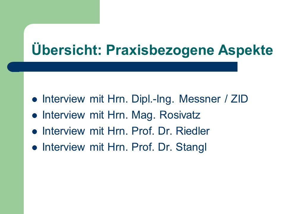 Übersicht: Praxisbezogene Aspekte Interview mit Hrn.