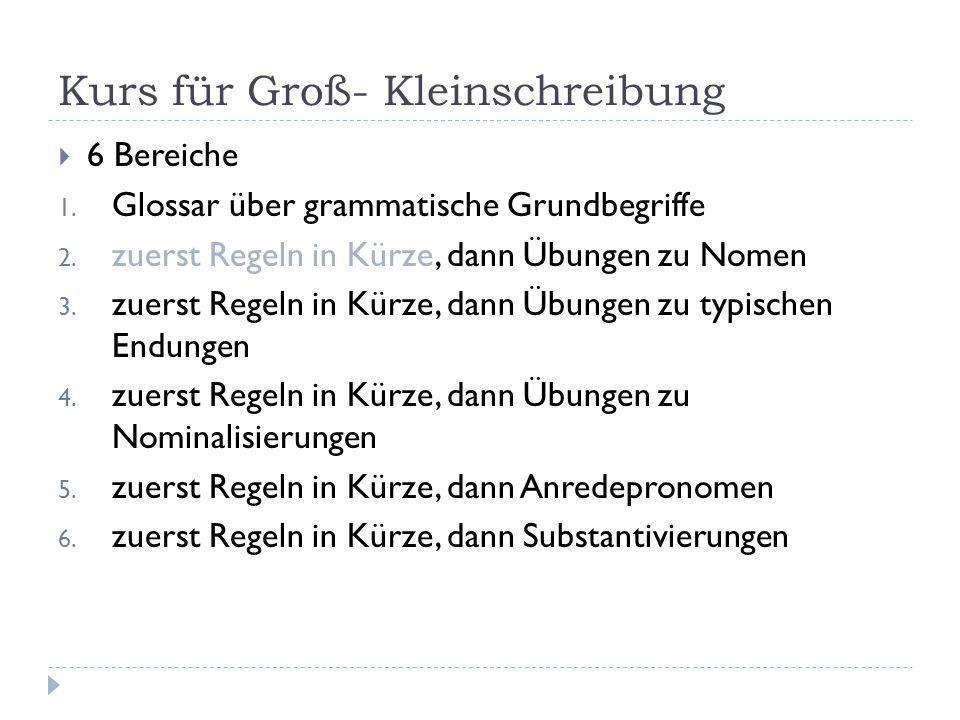 Kurs für Groß- Kleinschreibung  6 Bereiche 1. Glossar über grammatische Grundbegriffe 2. zuerst Regeln in Kürze, dann Übungen zu Nomen 3. zuerst Rege