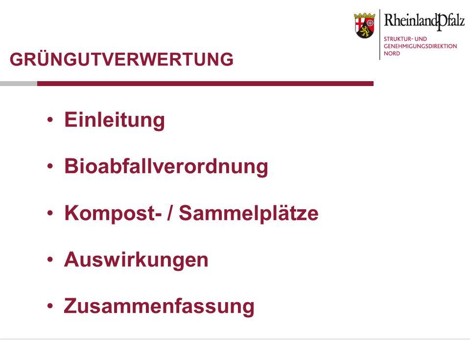 GRÜNGUTVERWERTUNG Einleitung Bioabfallverordnung Kompost- / Sammelplätze Auswirkungen Zusammenfassung