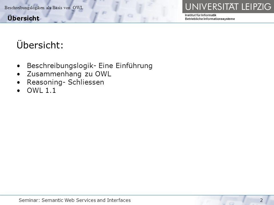 Beschreibungslogiken als Basis von OWL Institut für Informatik Betriebliche Informationssysteme Seminar: Semantic Web Services and Interfaces33 Reasoning T-Box Typische Aufgabe von Reasoning z.B.