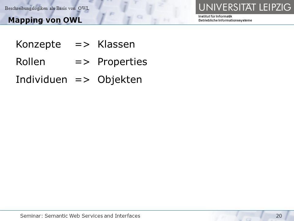 Beschreibungslogiken als Basis von OWL Institut für Informatik Betriebliche Informationssysteme Seminar: Semantic Web Services and Interfaces20 Mapping von OWL Konzepte => Klassen Rollen => Properties Individuen => Objekten