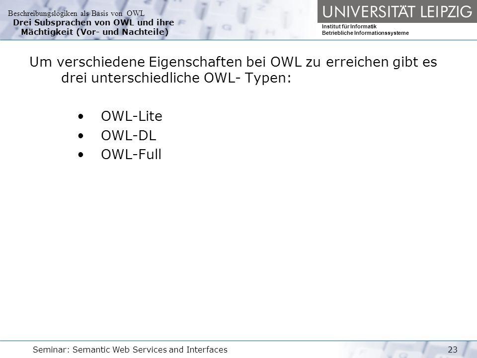 Beschreibungslogiken als Basis von OWL Institut für Informatik Betriebliche Informationssysteme Seminar: Semantic Web Services and Interfaces23 Drei Subsprachen von OWL und ihre Mächtigkeit (Vor- und Nachteile) Um verschiedene Eigenschaften bei OWL zu erreichen gibt es drei unterschiedliche OWL- Typen: OWL-Lite OWL-DL OWL-Full