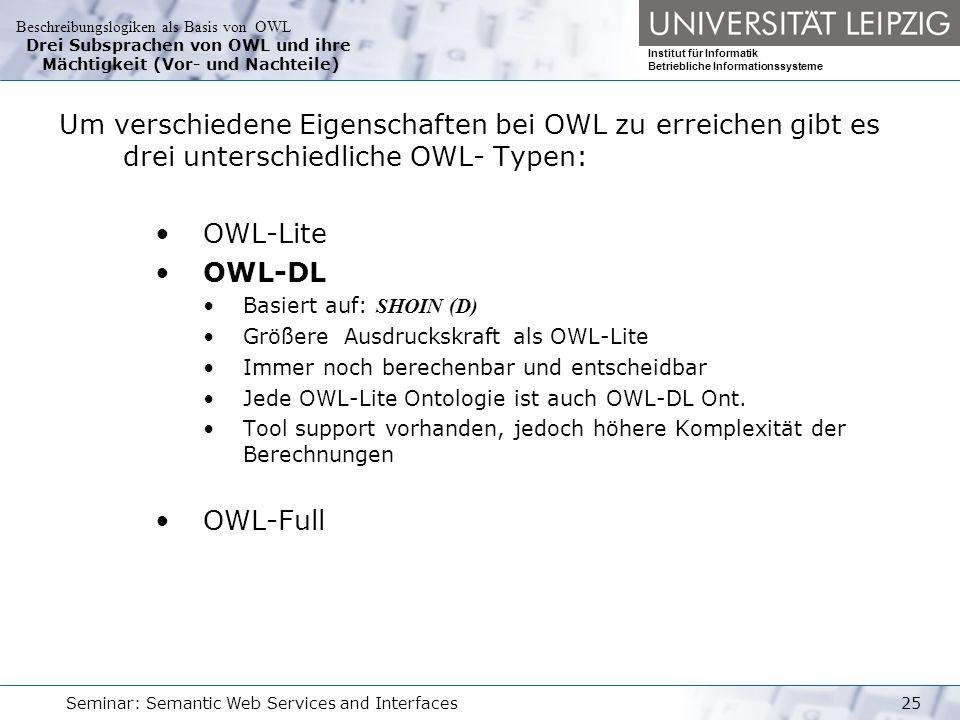 Beschreibungslogiken als Basis von OWL Institut für Informatik Betriebliche Informationssysteme Seminar: Semantic Web Services and Interfaces25 Drei Subsprachen von OWL und ihre Mächtigkeit (Vor- und Nachteile) Um verschiedene Eigenschaften bei OWL zu erreichen gibt es drei unterschiedliche OWL- Typen: OWL-Lite OWL-DL Basiert auf: SHOIN (D) Größere Ausdruckskraft als OWL-Lite Immer noch berechenbar und entscheidbar Jede OWL-Lite Ontologie ist auch OWL-DL Ont.