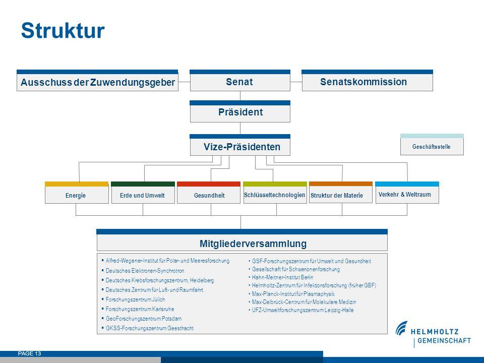 PAGE 13 Struktur Ausschuss der Zuwendungsgeber SenatSenatskommission Präsident Vize-Präsidenten  Alfred-Wegener-Institut für Polar- und Meeresforschu