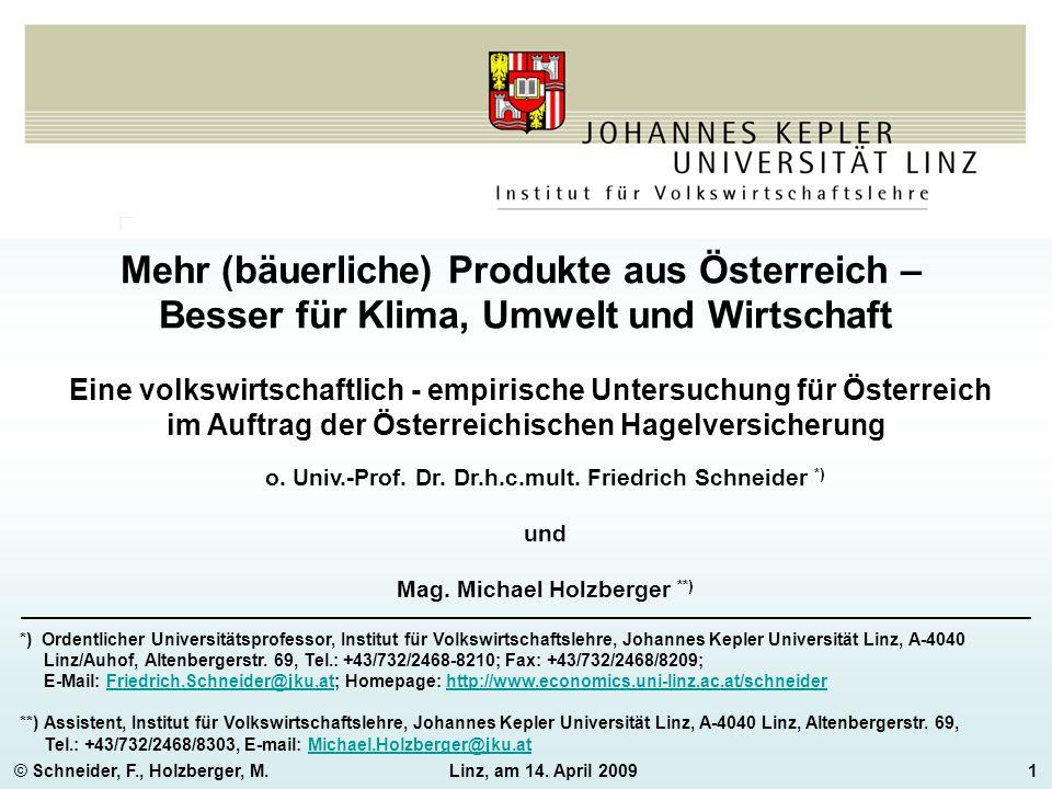 © Schneider, F., Holzberger, M.Linz, am 14. April 20091 Mehr (bäuerliche) Produkte aus Österreich – Besser für Klima, Umwelt und Wirtschaft Eine volks