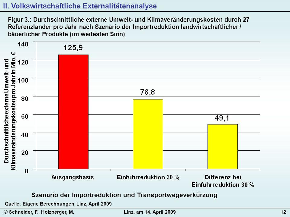© Schneider, F., Holzberger, M.Linz, am 14. April 200912 Quelle: Eigene Berechnungen, Linz, April 2009 II. Volkswirtschaftliche Externalitätenanalyse