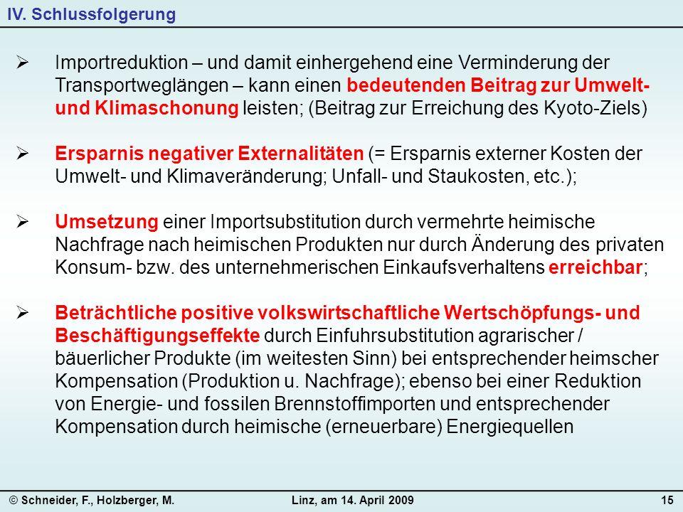 © Schneider, F., Holzberger, M.Linz, am 14. April 200915  Importreduktion – und damit einhergehend eine Verminderung der Transportweglängen – kann ei