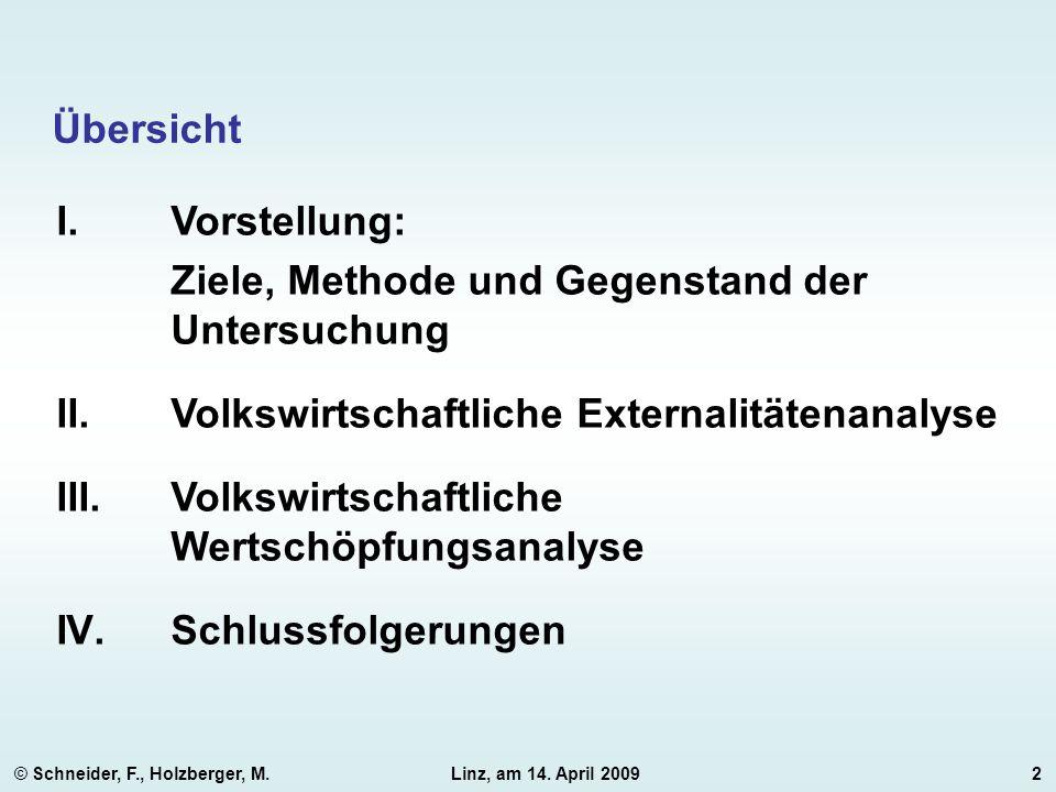 © Schneider, F., Holzberger, M.Linz, am 14. April 20092 Übersicht I.Vorstellung: Ziele, Methode und Gegenstand der Untersuchung II.Volkswirtschaftlich