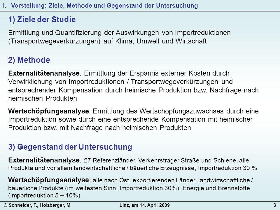 © Schneider, F., Holzberger, M.Linz, am 14. April 20093 1) Ziele der Studie Ermittlung und Quantifizierung der Auswirkungen von Importreduktionen (Tra