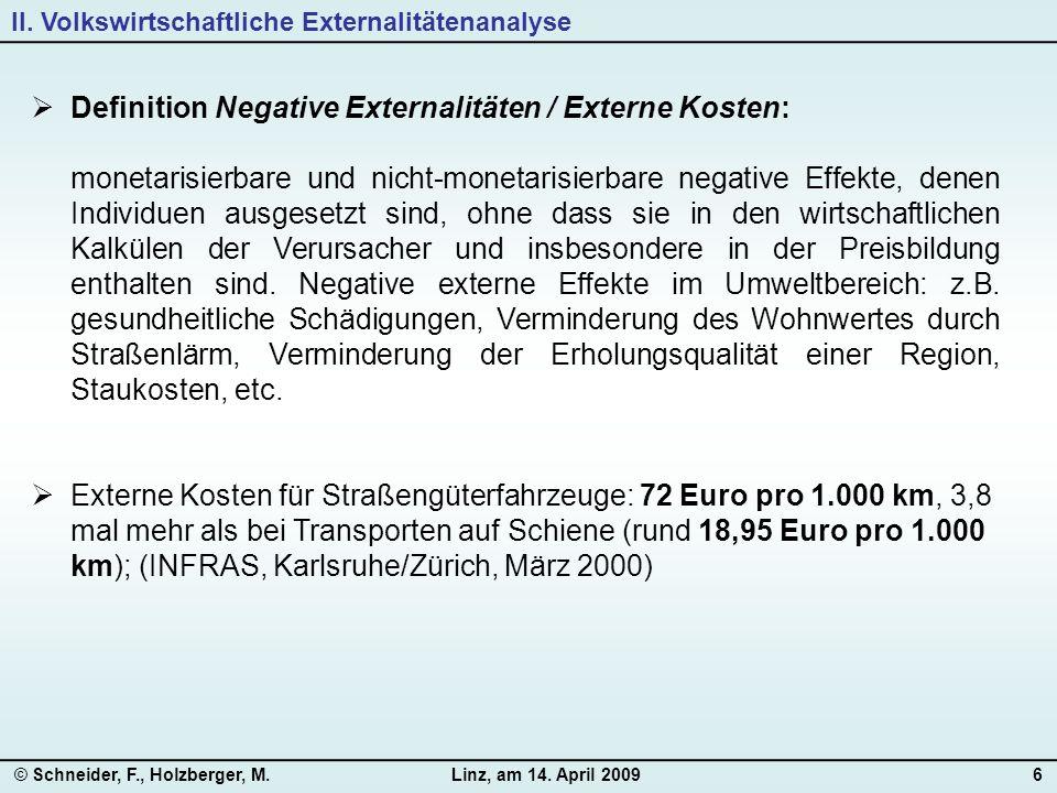 © Schneider, F., Holzberger, M.Linz, am 14. April 20096  Definition Negative Externalitäten / Externe Kosten: monetarisierbare und nicht-monetarisier