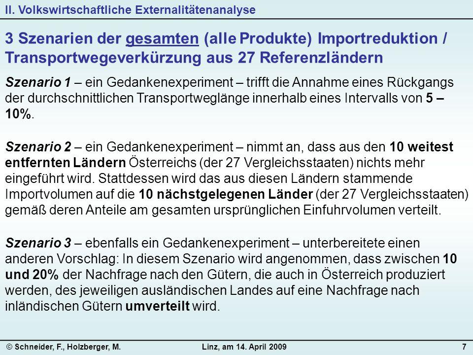 © Schneider, F., Holzberger, M.Linz, am 14. April 20097 3 Szenarien der gesamten (alle Produkte) Importreduktion / Transportwegeverkürzung aus 27 Refe