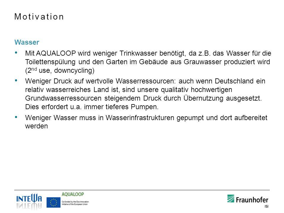 Wasser Mit AQUALOOP wird weniger Trinkwasser benötigt, da z.B. das Wasser für die Toilettenspülung und den Garten im Gebäude aus Grauwasser produziert