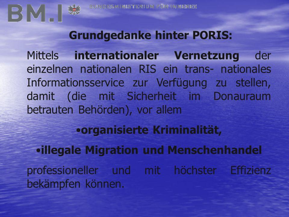 Grundgedanke hinter PORIS: Mittels internationaler Vernetzung der einzelnen nationalen RIS ein trans- nationales Informationsservice zur Verfügung zu stellen, damit (die mit Sicherheit im Donauraum betrauten Behörden), vor allem organisierte Kriminalität, illegale Migration und Menschenhandel professioneller und mit höchster Effizienz bekämpfen können.