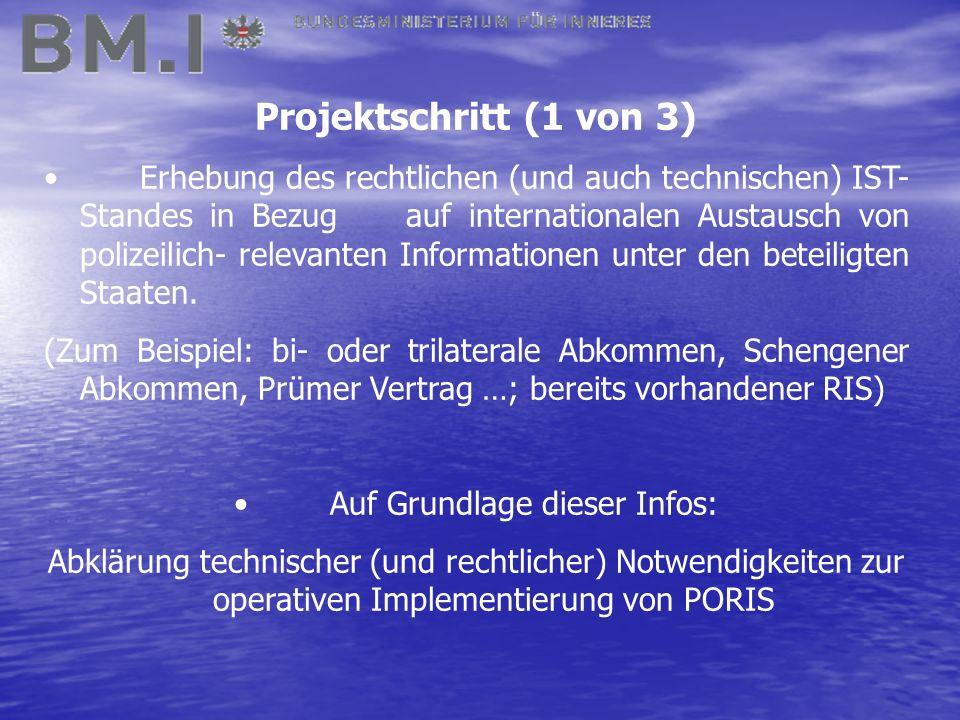 Projektschritt (1 von 3) Erhebung des rechtlichen (und auch technischen) IST- Standes in Bezug auf internationalen Austausch von polizeilich- relevanten Informationen unter den beteiligten Staaten.