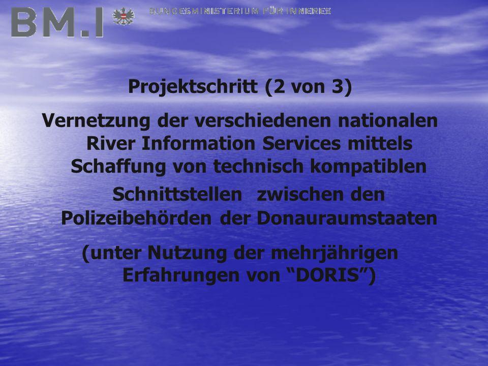 Projektschritt (2 von 3) Vernetzung der verschiedenen nationalen River Information Services mittels Schaffung von technisch kompatiblen Schnittstellen zwischen den Polizeibehörden der Donauraumstaaten (unter Nutzung der mehrjährigen Erfahrungen von DORIS )