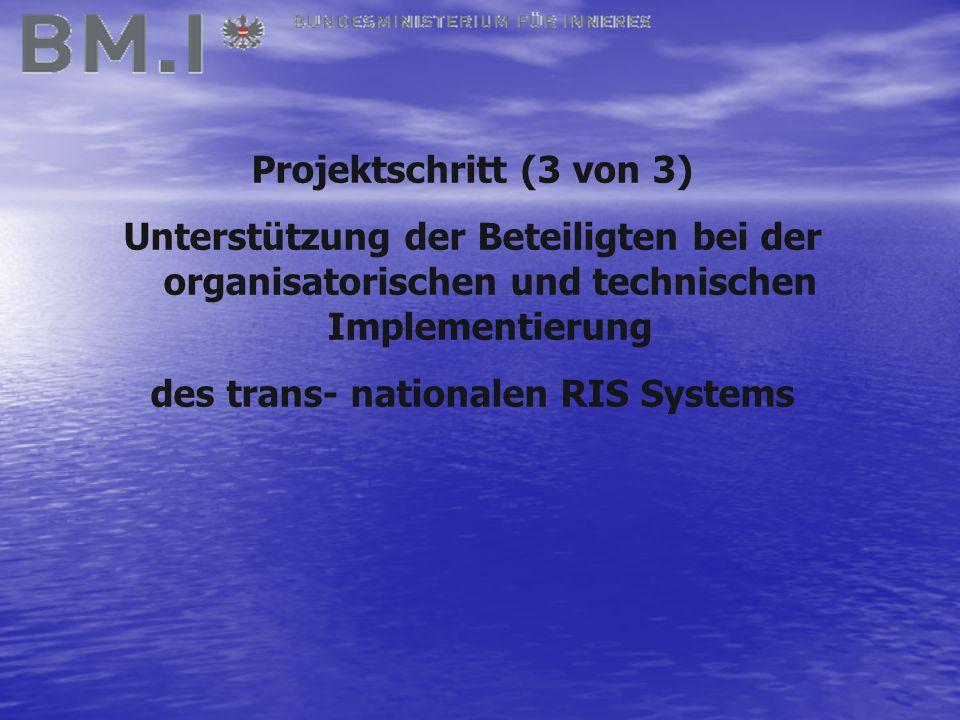 Projektschritt (3 von 3) Unterstützung der Beteiligten bei der organisatorischen und technischen Implementierung des trans- nationalen RIS Systems