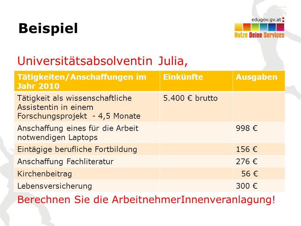 Universitätsabsolventin Julia, Berechnen Sie die ArbeitnehmerInnenveranlagung.