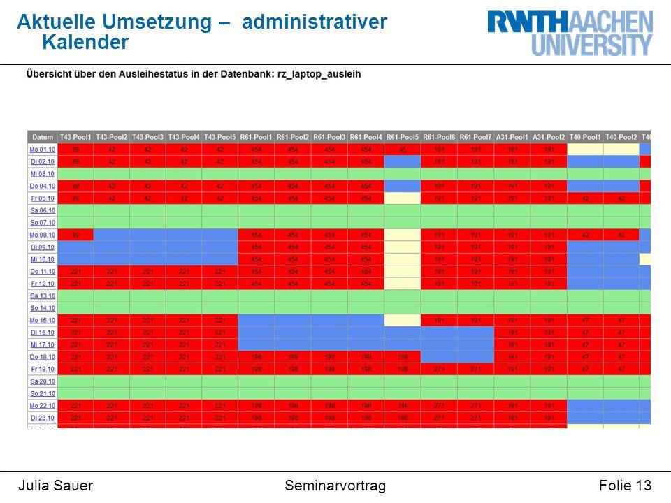 SeminarvortragJulia SauerFolie 13 Aktuelle Umsetzung – administrativer Kalender