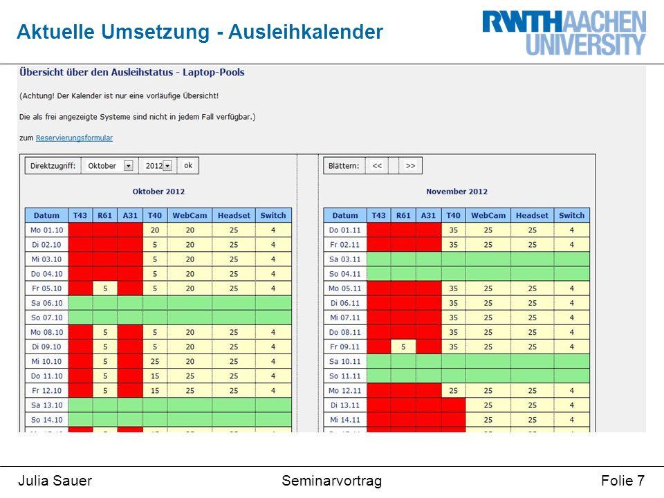 SeminarvortragJulia SauerFolie 7 Aktuelle Umsetzung - Ausleihkalender