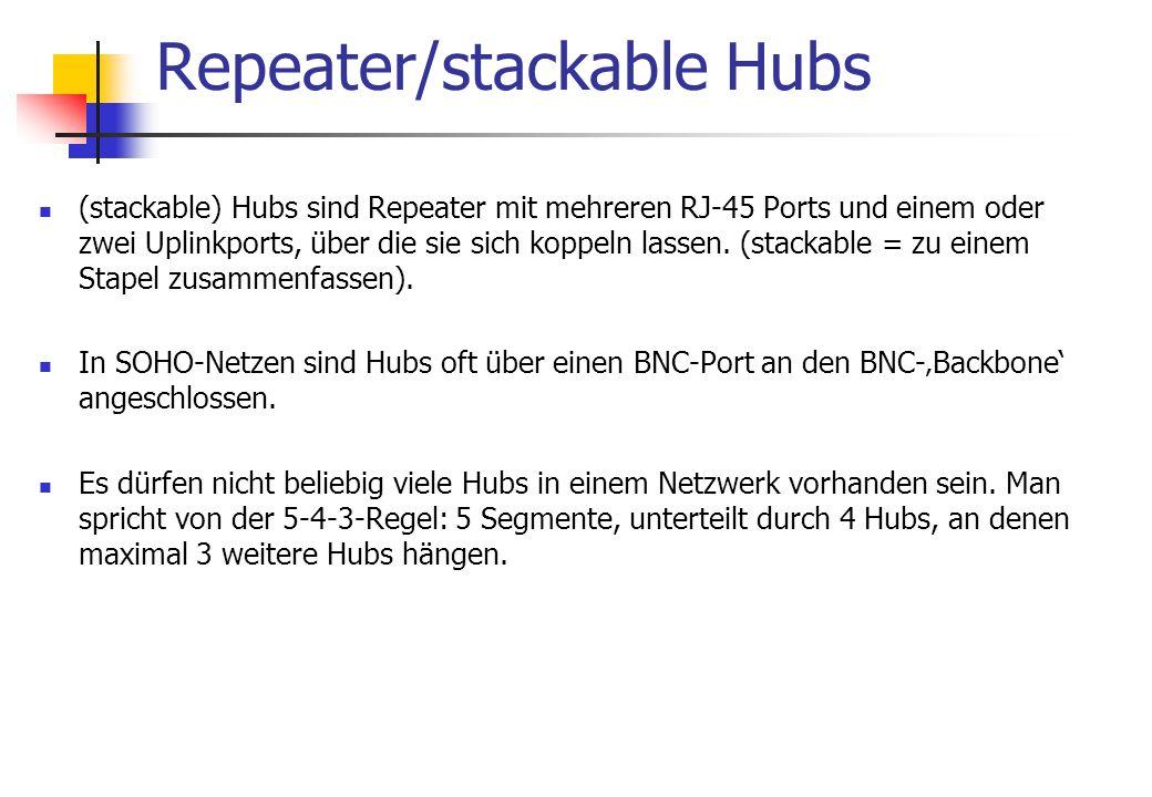 (stackable) Hubs sind Repeater mit mehreren RJ-45 Ports und einem oder zwei Uplinkports, über die sie sich koppeln lassen.