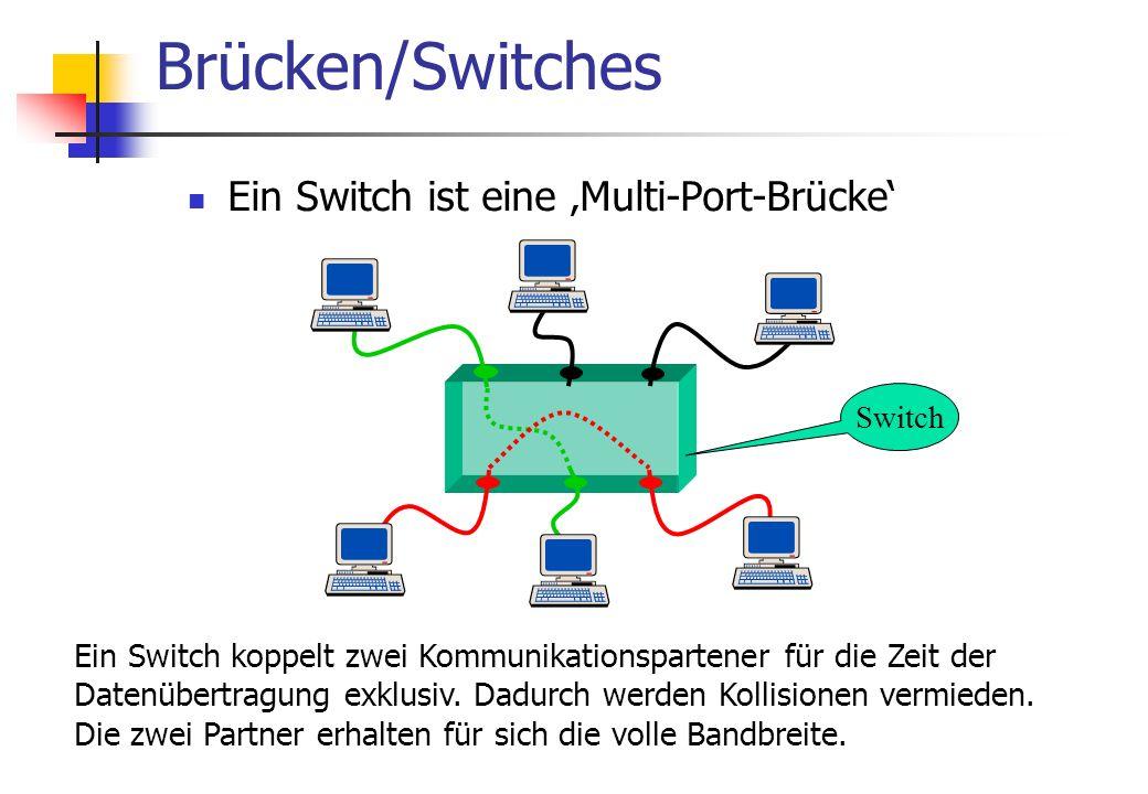 Ein Switch ist eine 'Multi-Port-Brücke' Brücken/Switches Ein Switch koppelt zwei Kommunikationspartener für die Zeit der Datenübertragung exklusiv.