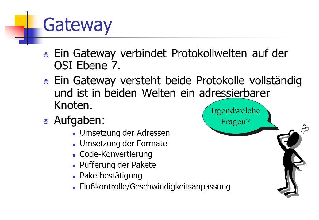 Gateway ¥ Ein Gateway verbindet Protokollwelten auf der OSI Ebene 7.