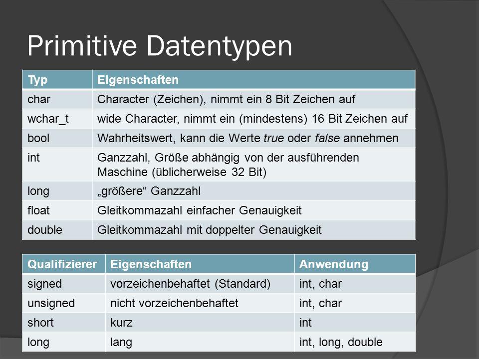 Primitive Datentypen TypEigenschaften charCharacter (Zeichen), nimmt ein 8 Bit Zeichen auf wchar_twide Character, nimmt ein (mindestens) 16 Bit Zeiche